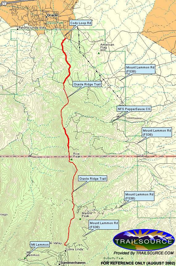 Oracle Ridge Hiking Map