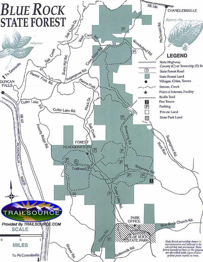 Blue Rock State Forest Horseback Riding Map