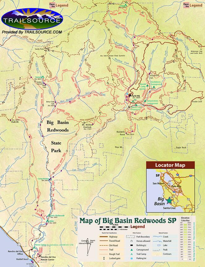 Big Basin State Park Horseback Riding Map