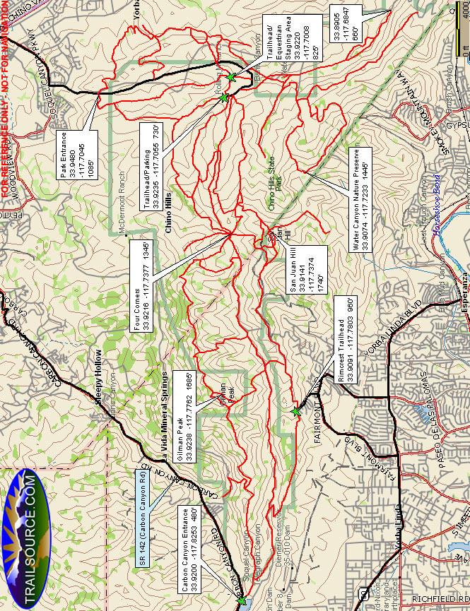 Chino Hills State Park Hiking Map