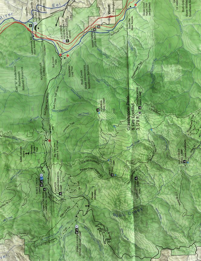 Humboldt Redwoods State Park Mountain Biking Map