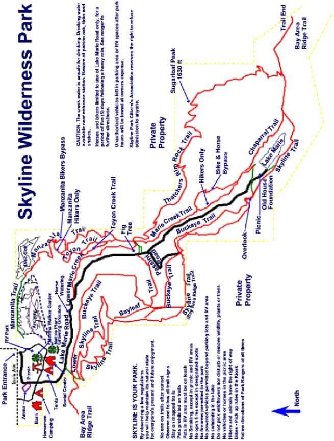 Skyline Park Hiking Map
