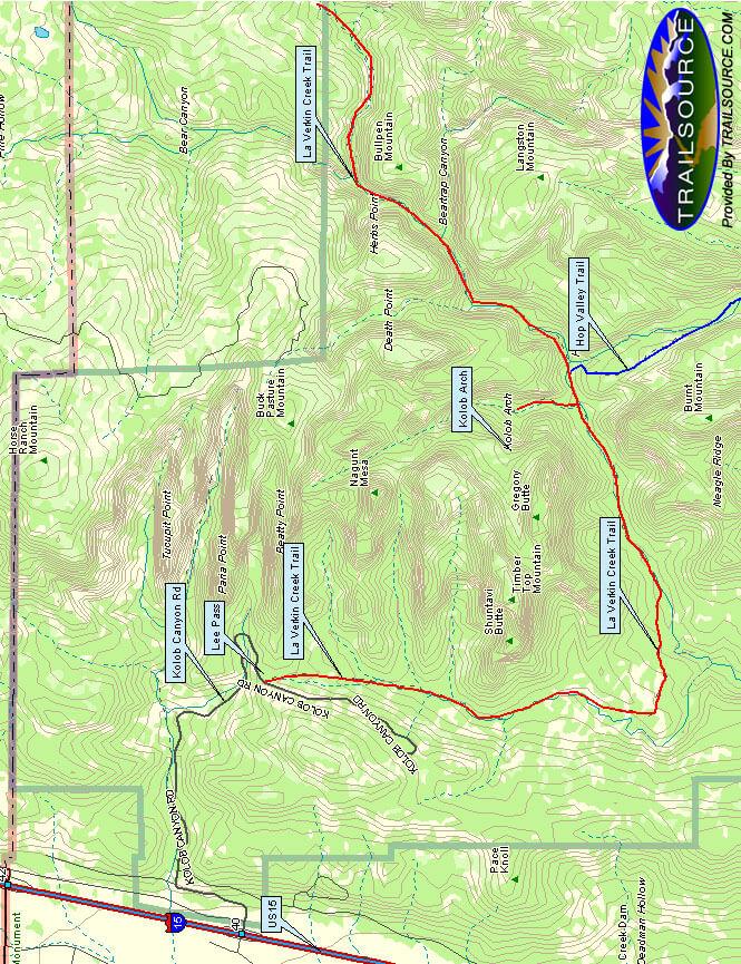 La Verkin Creek Trail Hiking Map