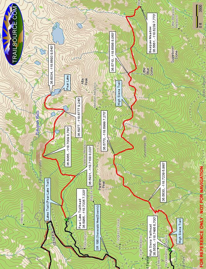 Lakes Trail / Pear Lake Trail Hiking Map