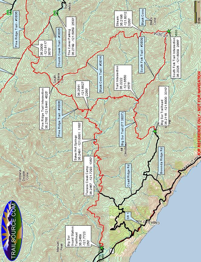 Black Cone Trail Hiking Map
