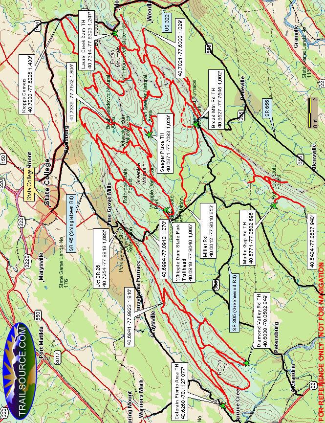 Seven Mountains Snowmobile Trail Snowmobiling Map