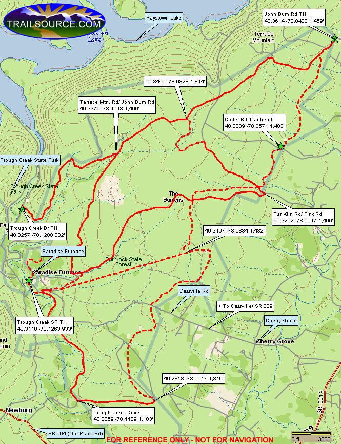Trough Creek Snowmobile Trail Snowmobiling Map