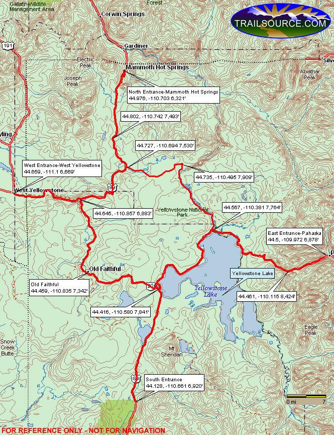 Grand Loop Road Snowmobiling Map