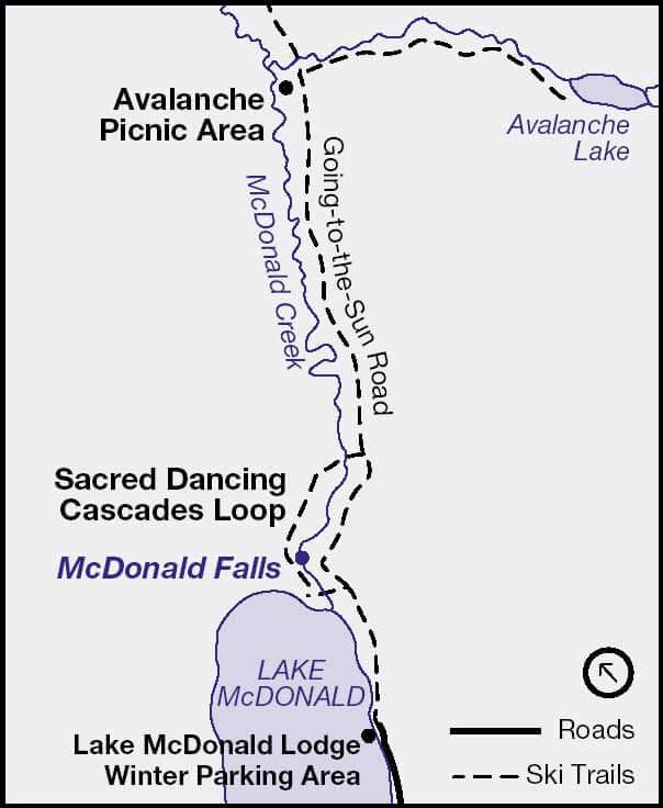 Upper Lake McDonald Cross Country Skiing Map
