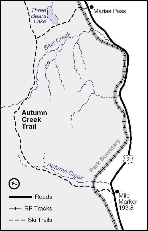 Marias Pass - Autumn Creek Cross Country Skiing Map
