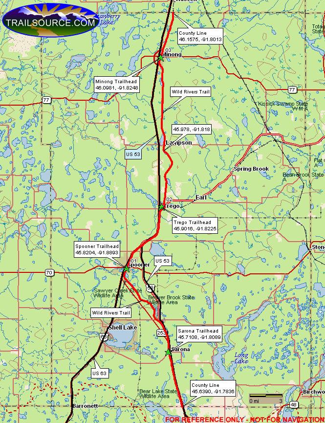 Washburn County Forest Horseback Riding Map