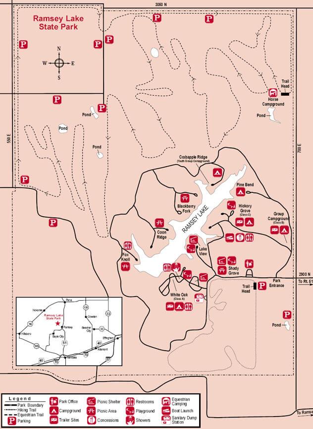 Ramsey Lake State Park Horseback Riding Map