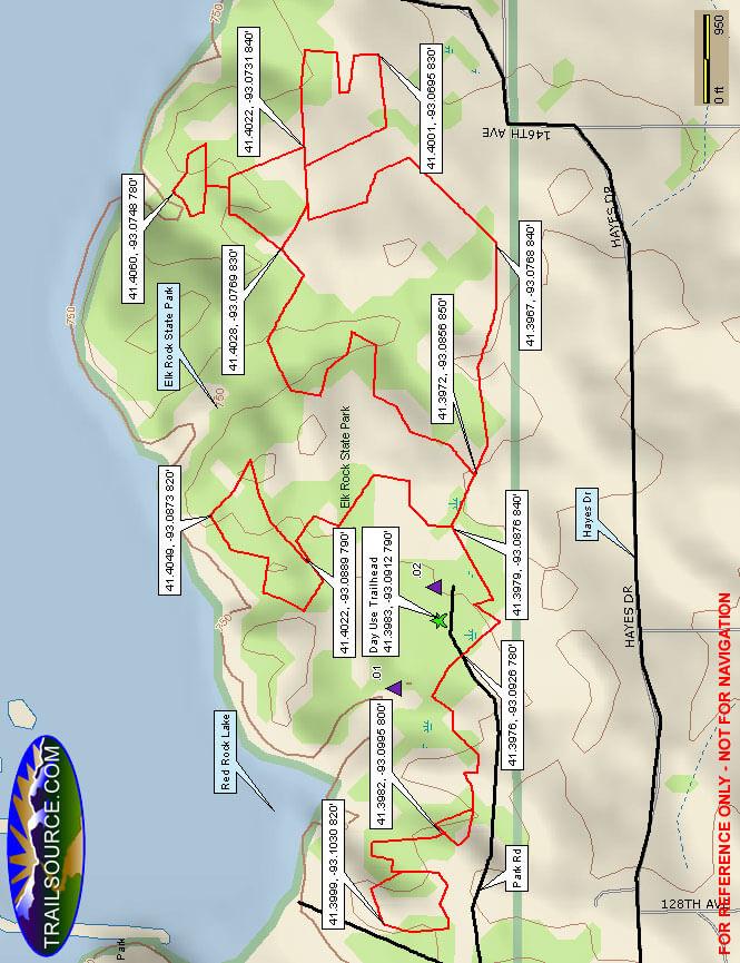 Elk Rock State Park Mountain Biking Map