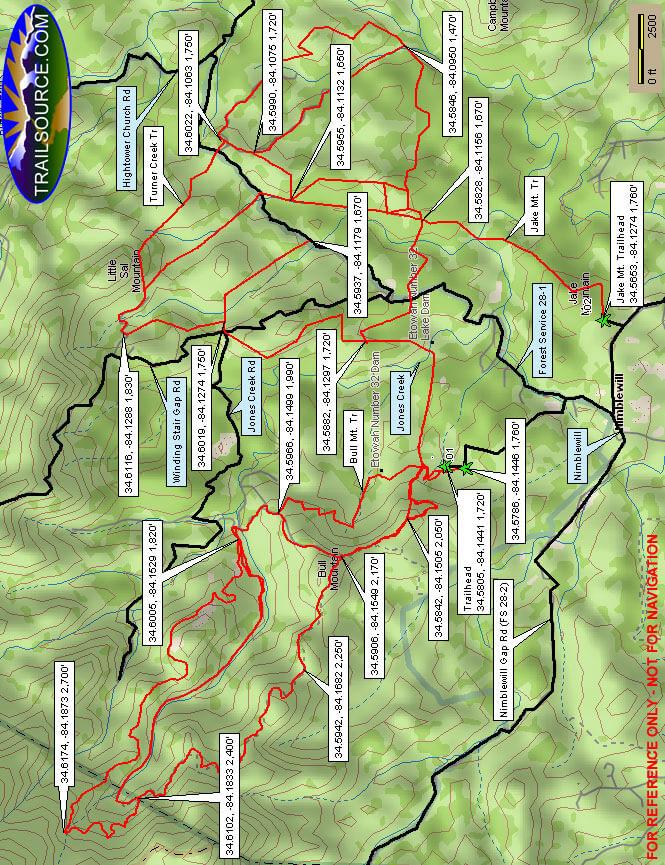 Bull Mountain Trail Hiking Map