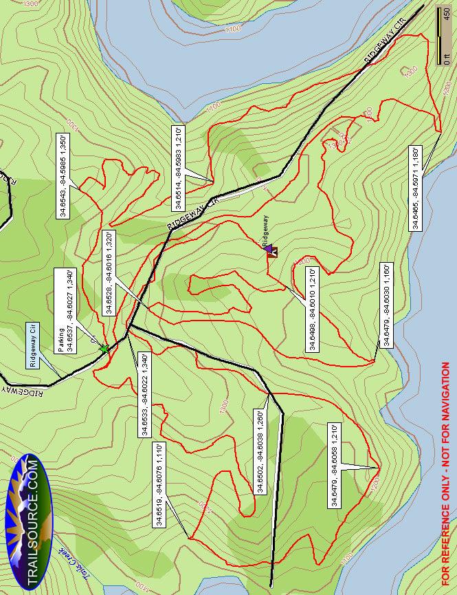 Carters Lake Recreation Area Hiking Map