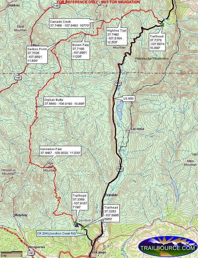 Colorado Trail - Molas Pass To Durango Horseback Riding Map