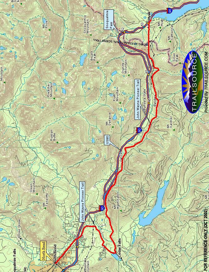 John Wayne Pioneer Trail Hiking Map