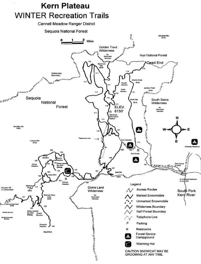 Sherman Pass / Kern Plateau Area Snowmobiling Map