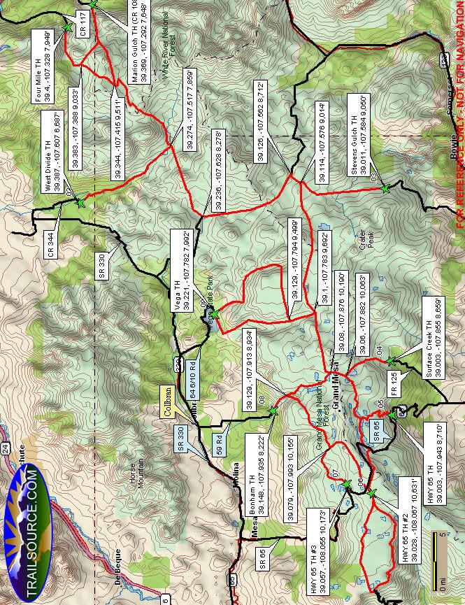 Grand Mesa Snowmobiling Map