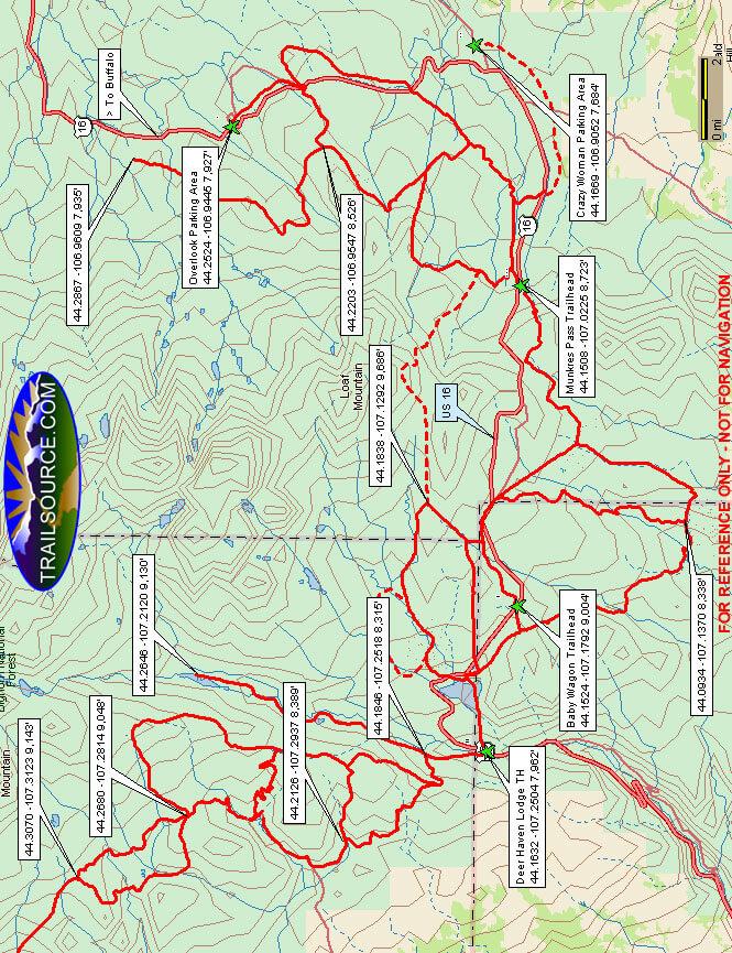 Southern Bighorns Snowmobiling Map