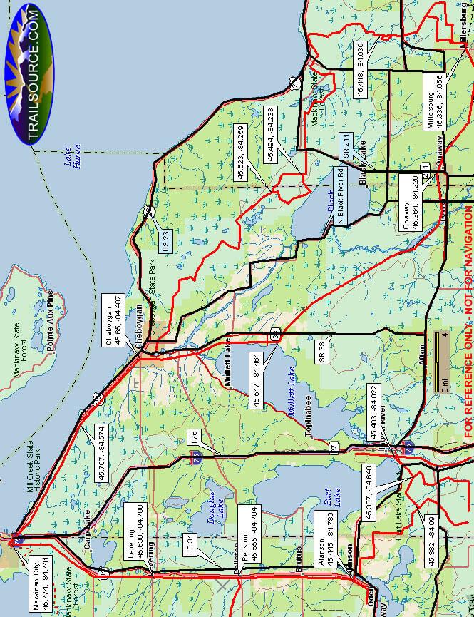 Cheboygan County Snowmobiling Map