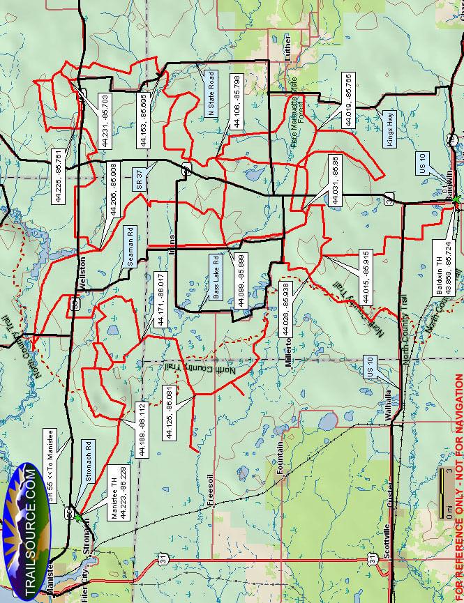 Ward Hills Snowmobiling Map