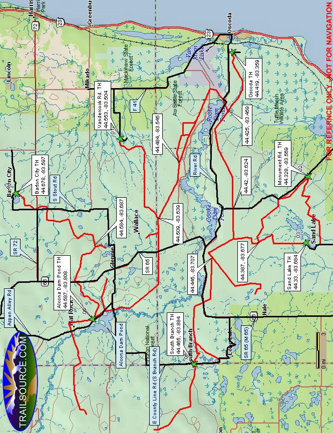 Iosco County Snowmobiling Map