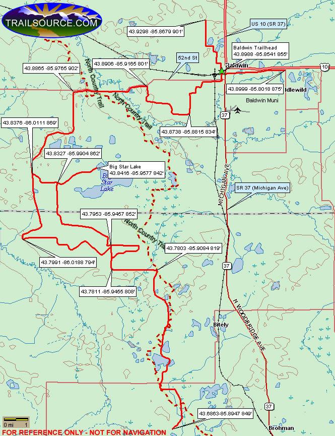 Honeymoon Lake Snowmobiling Map