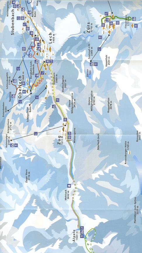 Lech / Zurs Cross Country Skiing Map
