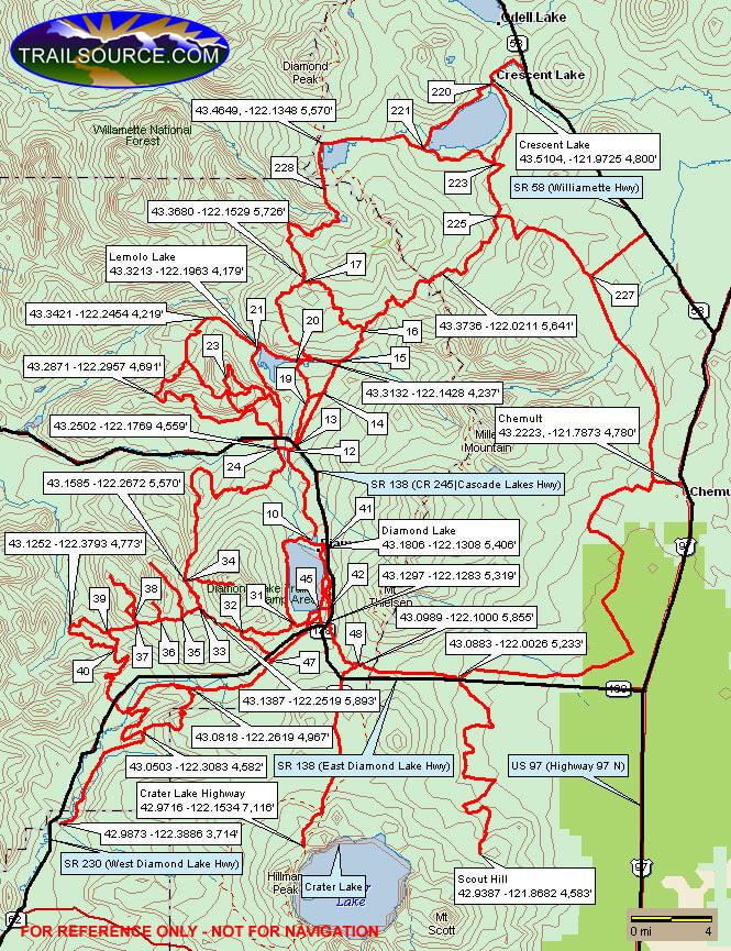 Diamond Lake Snowmobiling Map