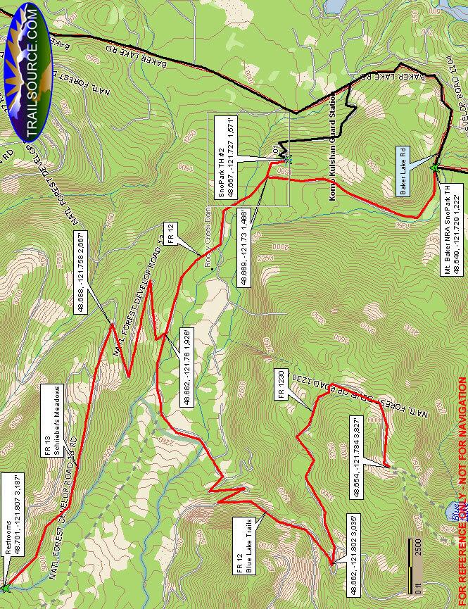Mount Baker NRA SnoPark Snowmobiling Map
