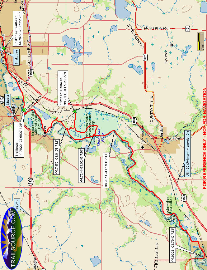 Minnesota Valley State Trail Snowmobiling Map