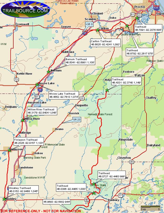 Willard Munger State Trail Snowmobiling Map