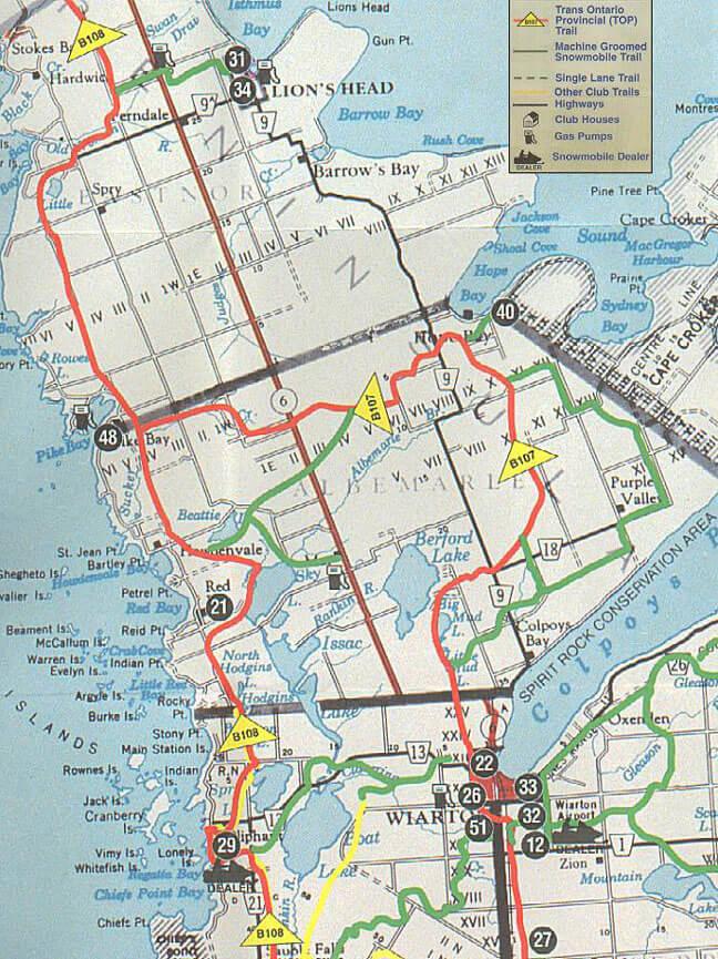 Wiarton Snowmobiling Map
