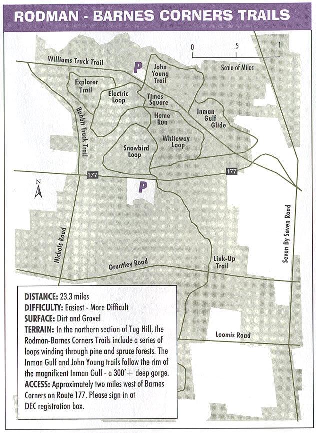 Rodman - Barnes Corners Mountain Biking Map