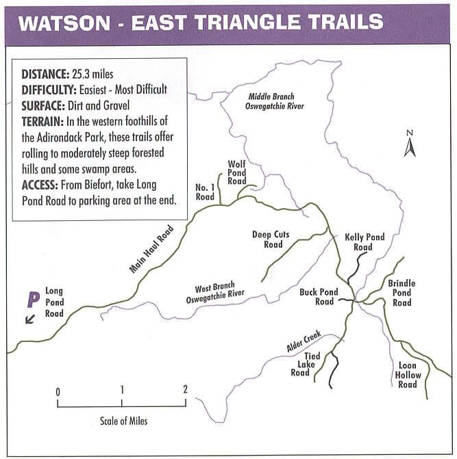 Watson East Triangle Mountain Biking Map