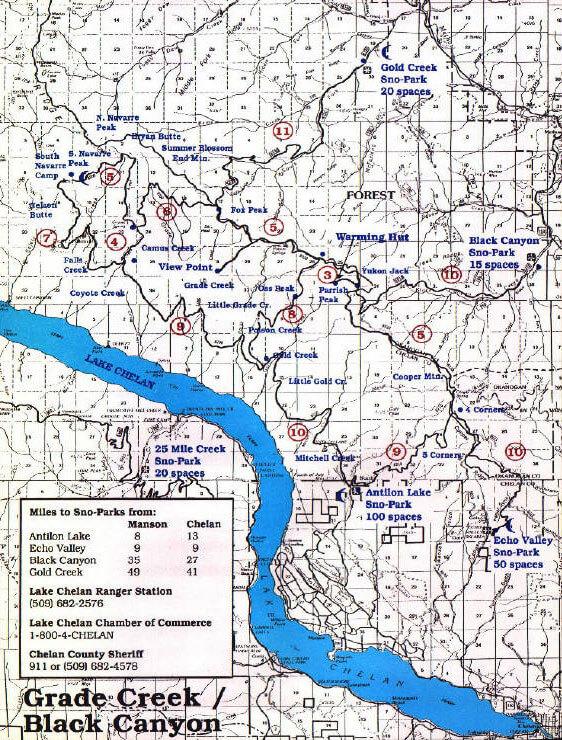 Lake Chelan - North Shore Snowmobiling Map
