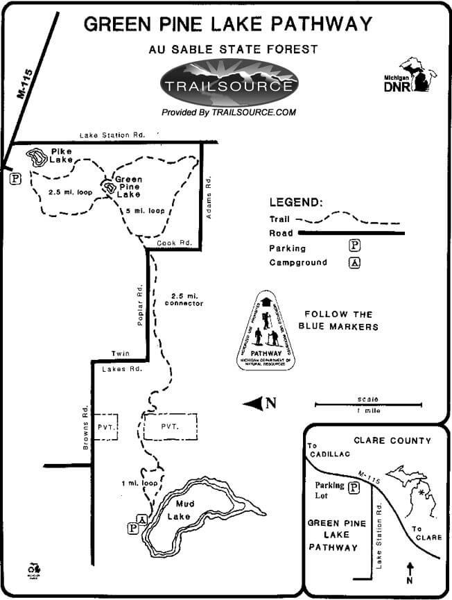 Green Pine Lake Pathway Hiking Map