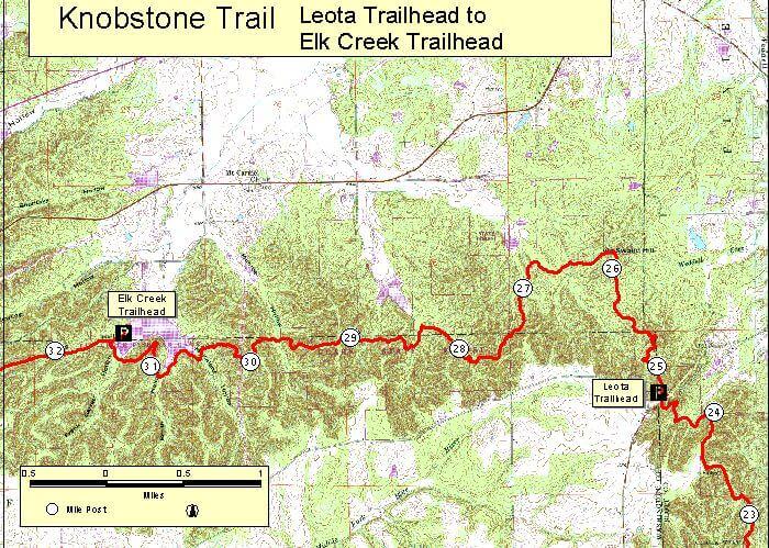 Knobstone Trail - Elk Creek To Leota Hiking Map
