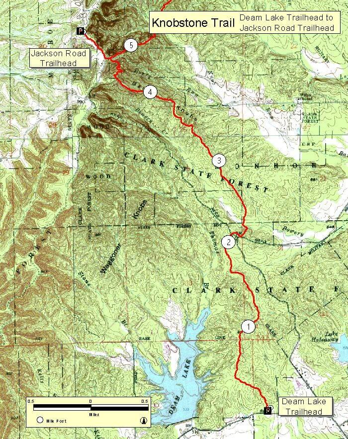 Knobstone Trail - Jackson To Deam Lake Hiking Map