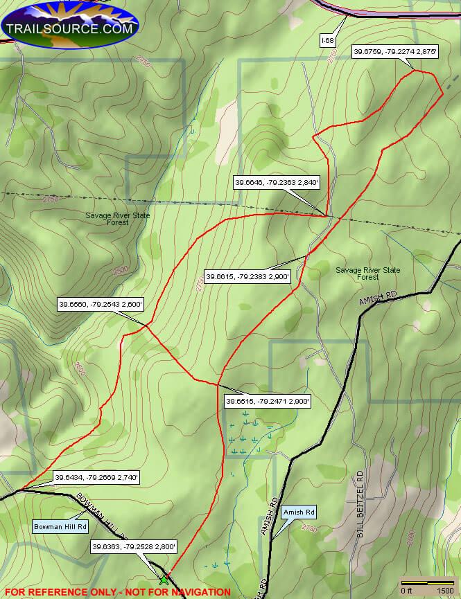 Negro Mountain Trails Mountain Biking Map