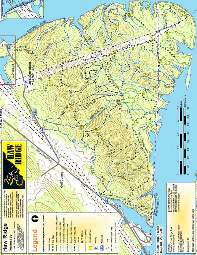 Haw Ridge Park Mountain Biking Map