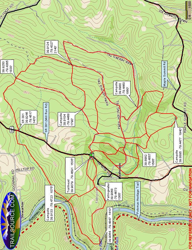 Bear Run Nature Reserve Cross Country Skiing Map