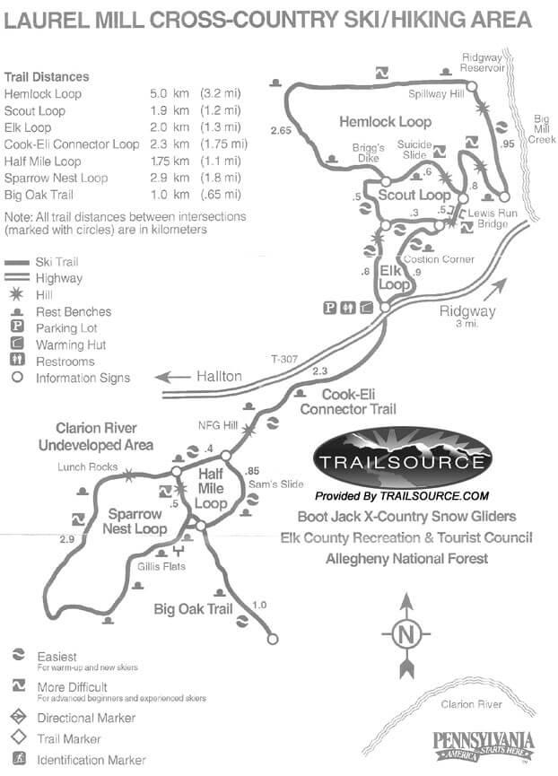 Laurel Mill Ski Trail Cross Country Skiing Map