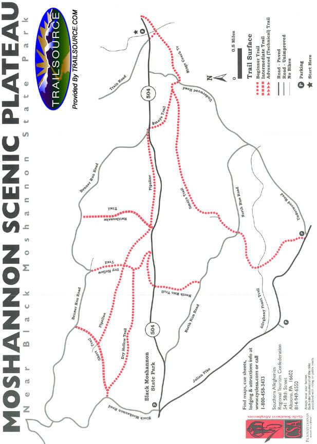 Moshannon Scenic Plateau Mountain Biking Map
