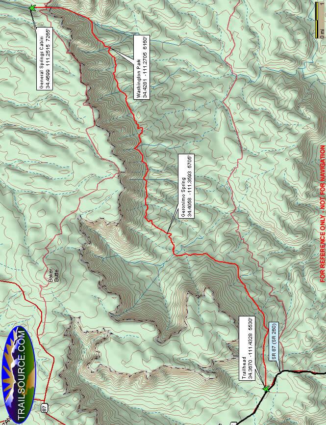 Arizona Trail - Highline Horse Trail Horseback Riding Map