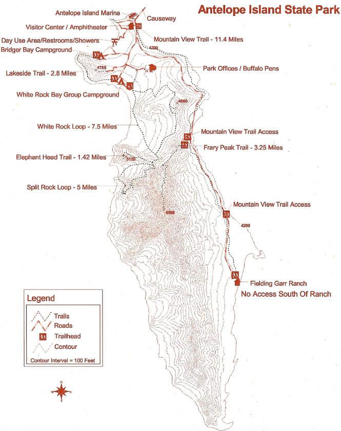 Antelope Island State Park Hiking Map