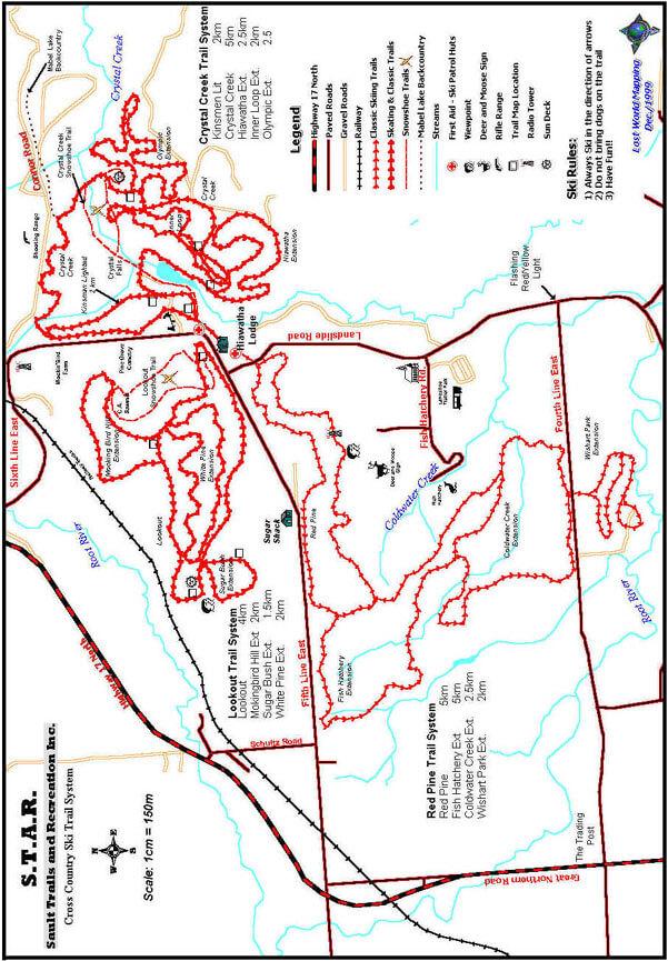 Hiawatha Highlands Cross Country Skiing Map