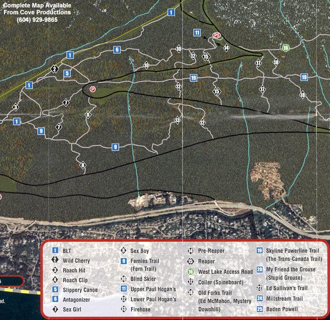 North Shore - Cypress Mountain Biking Map
