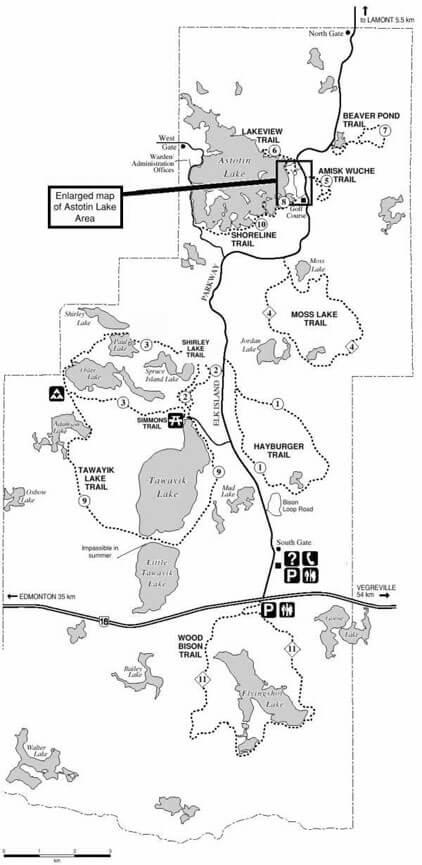 Elk Island National Park Cross Country Skiing Map